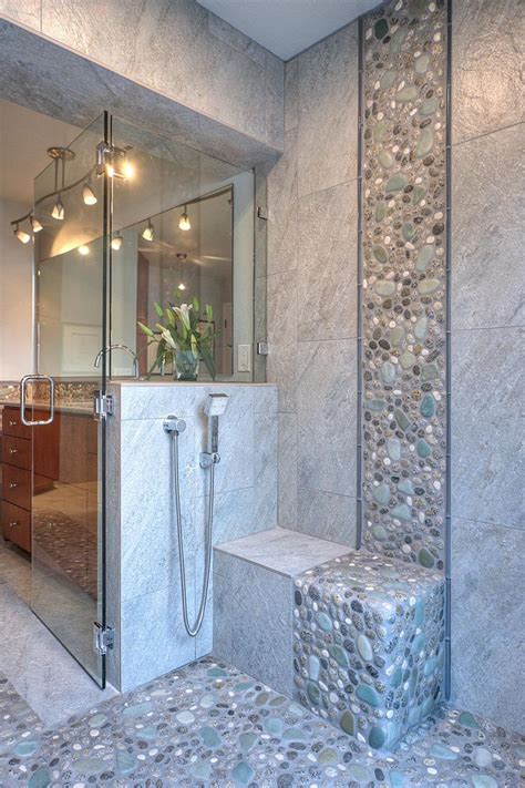 30 grey natural bathroom tiles ideas and