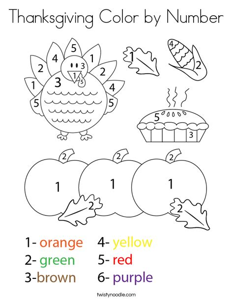 thanksgiving color by number coloring page twisty noodle