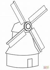 Coloring Windmill Simple Pages Printable Drawing Paper Crafts Puzzle sketch template