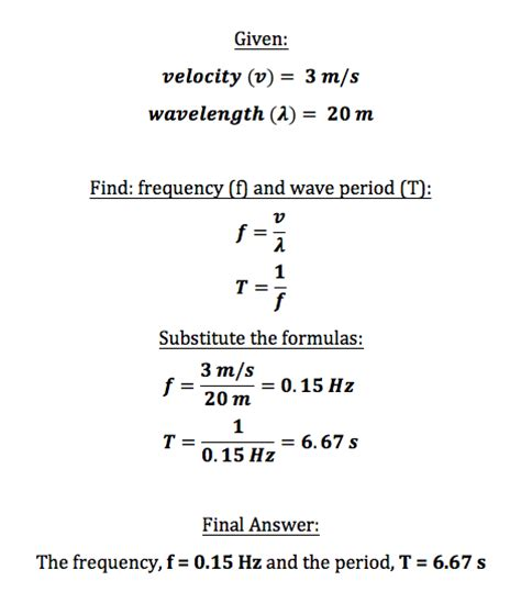math skills worksheet wave speed wave period definition