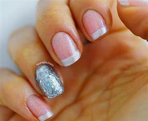 The gallery for --> French Nails With Silver Glitter