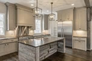 kitchen islands wood reclaimed barn wood kitchen island with gray quartz countertop cottage kitchen