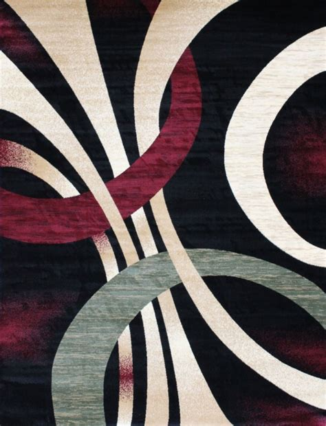 Abstract Black Rug by 1447 Black Green Burgundy Beige Abstract Modern Area Rug