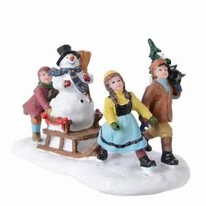 Personnage Pour Village De Noel : figurine enfant et luge d 39 hiver village de noel eminza ~ Melissatoandfro.com Idées de Décoration