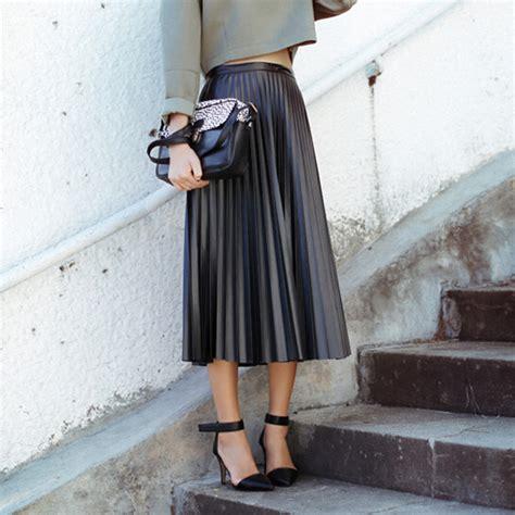 Aliexpress.com  Buy PU Faux Leather Skirt Pleated Midi Long Maxi high waist vintage black women ...
