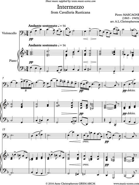cavalleria intermezzo cello sheet music by pietro