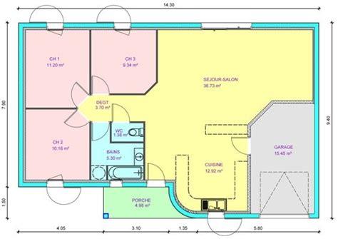 plan de maison plein pied gratuit 3 chambres maison