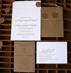 leah adam39s calligraphy and kraft paper wedding invitations With wedding invitations on craft paper