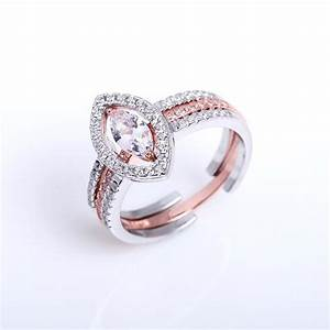 bridal setinsertengagement wedding marquise shape rings With rose gold and silver wedding rings