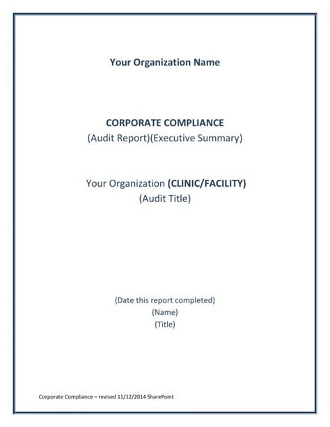 compliance audit report samples  templates