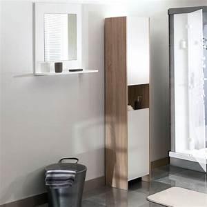colonne salle de bain 2 portes 1 niche chene blanc With salle de bain design avec colonne castorama salle bain