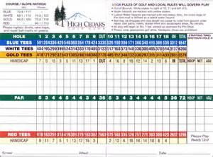 Cedars Golf Course Scorecard