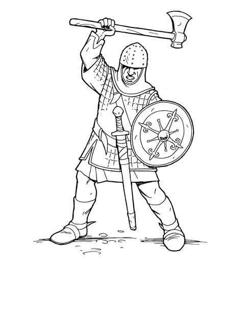 coloring page knight crusader