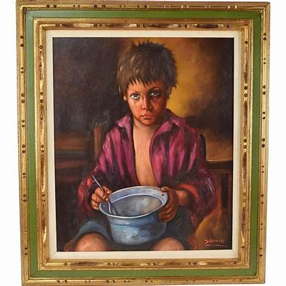 Painting Oil Crying Boy Portrait Hungry Empty