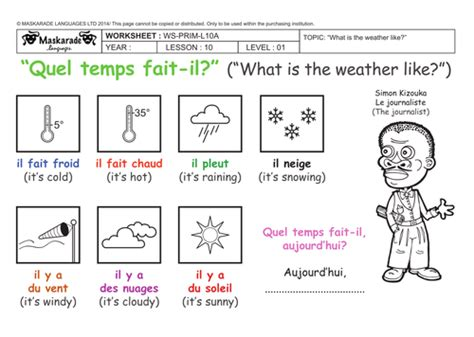 y3 4 at school the weather expressions les