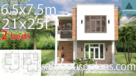 House Design with Full Plan 6 5x7 5m 21x25f 2 Bedrooms