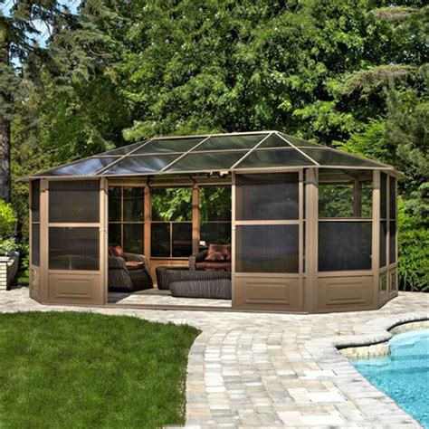 Heating A Screened Porch by Shop Gazebo Penguin Brown Metal Octagon Screened Gazebo
