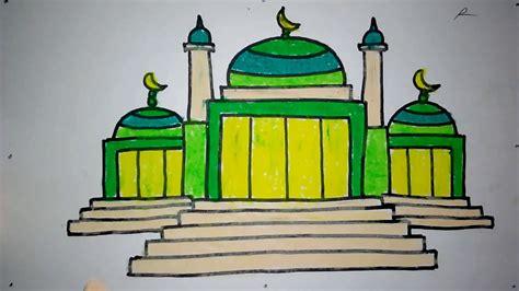 mewarnai gambar masjid anak paud warna warni gambar