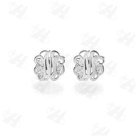 custom monogram initial stud earrings brand silver color earring personalized name fashion