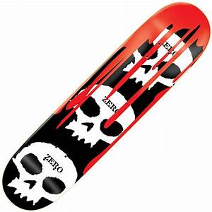 Zero Skateboards Zero 3 Skulls W/Blood Black Skateboard ...