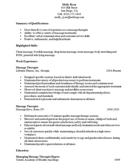 exle resume exle resume therapist