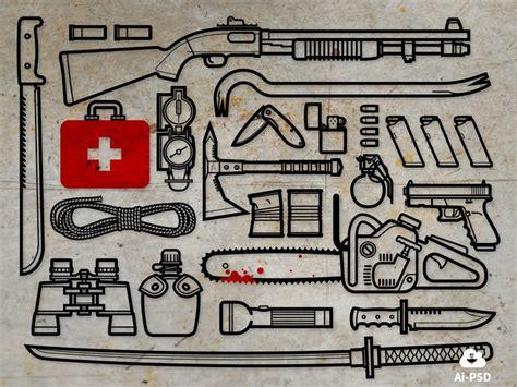 survival zombie kit apocalypse tools apocalyptic dribbble weapons icon attack