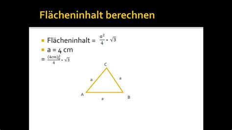 flaecheninhalt eines gleichseitigen dreiecks berechnen