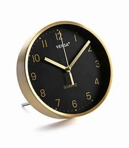 Pendule à Poser : horloge poser ou mural en m tal dor et fond noir ~ Teatrodelosmanantiales.com Idées de Décoration