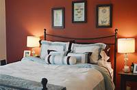 fine bedroom accent wall Orange Accents Wall Painted Of Modern Bedroom Design Idea ...