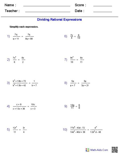 dividing rational expressions worksheets if i only knew