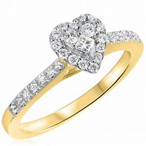 1 2 ct tw diamond women39s bridal wedding ring set 10k for Ladies diamond wedding ring sets