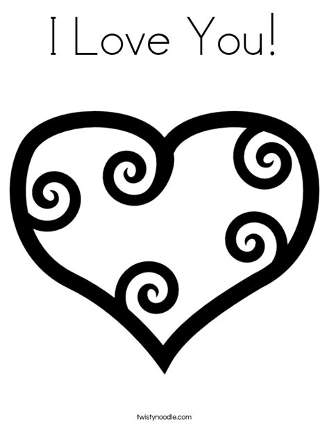 I Love You Coloring Page - Twisty Noodle