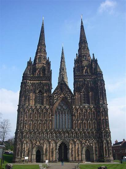 Cathedral Lichfield England West Spires Medieval Cathedrals