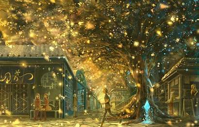Anime Magic Landscape Tree Night Wallpapers Background