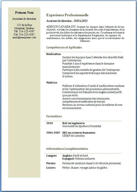 Exemple De Curriculum Vitae Professionnel by Curriculum Vitae Exemple