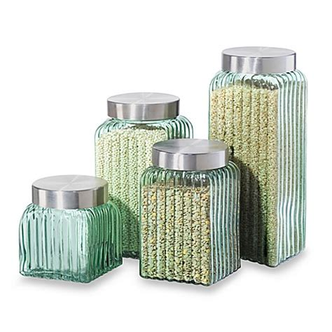 Oggi Kitchen Canisters by Oggi Ribbed Glass 4 Canister Set In Green Bed