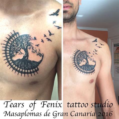 mandala men tattoo chest silhouette birds tattoo ideas