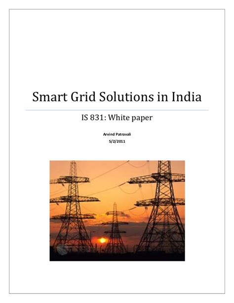 Smart Grid Solutions In India  Arvind Patravali