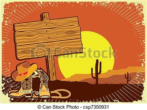 Cowboy's landscape .grunge wild western background of ...
