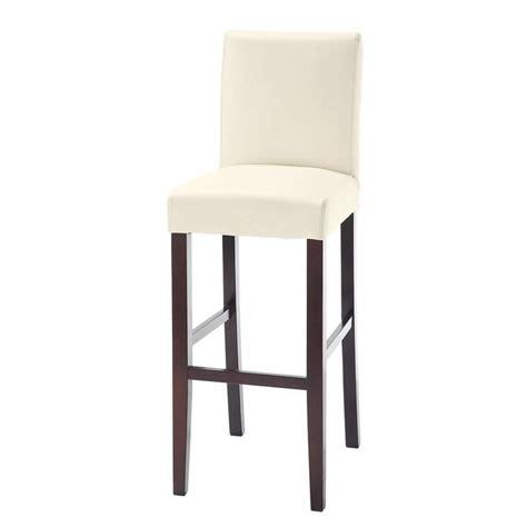 chaise de bar en tissu et bois teint 233 blanche boston