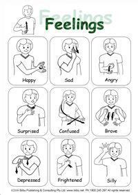 sign language emotions quick reference sheet