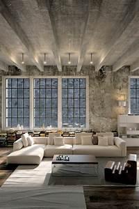 mille et une idees pour le salon style industriel en 44 With tapis ethnique avec canapé style loft
