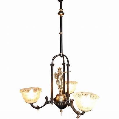 Gas Chandelier Arm Three Antique Circa Lighting