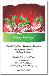 red swirl ornaments holly christmas invitation