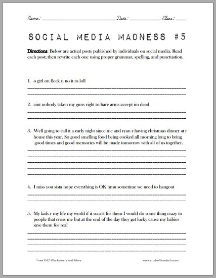 social media madness worksheet 5 another fun worksheet