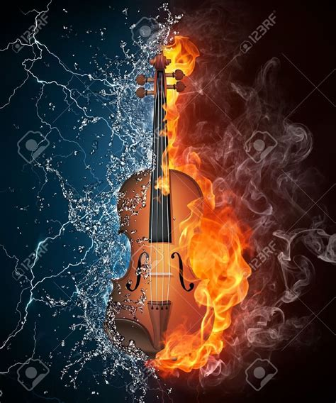 Trying to match the great paul kossoff's vibrato is no easy task! Violin in Fire and Water Isolated on Black Background ...