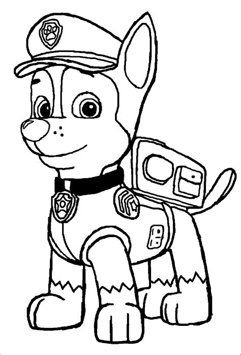 paw patrol chase coloring page coloring home