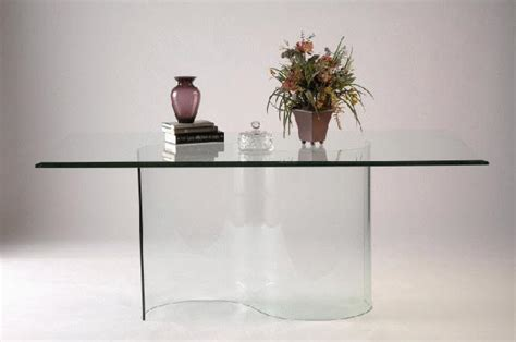 double curved  glass dining table base