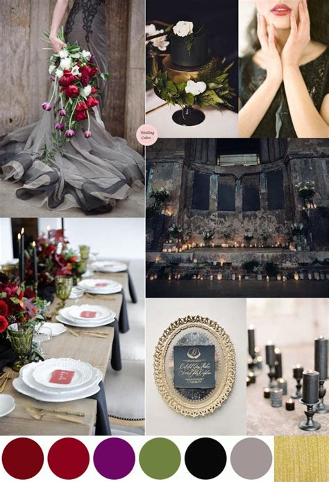 dark moody wedding palette rich reds plum black gold wedding colors