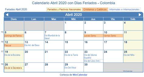 calendario abril   imprimir colombia